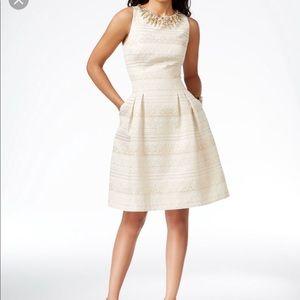 Camuto Embellished Metallic-Print A-Line Dress